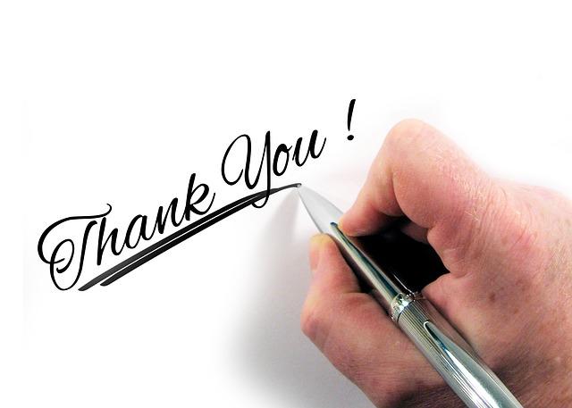 napsané poděkování