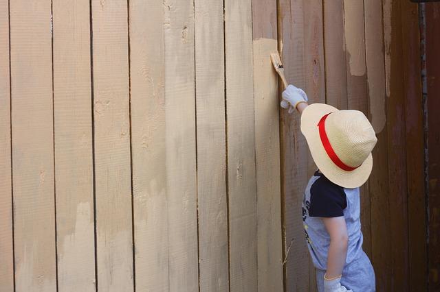 chlapec natírá plot
